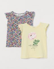 20Y1-002 H&M 2-pack Flutter-sleeved Tops - 18-24 tháng