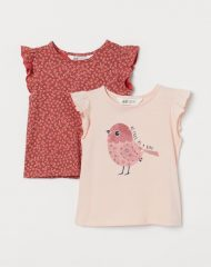 20Y1-001 H&M 2-pack Flutter-sleeved Tops - 18-24 tháng