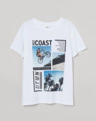 20G2-182 H&M T-shirt with Printed Design - 12-14 tuổi