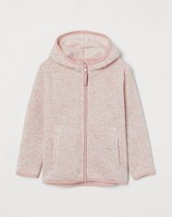 20G2-072 H&M Hooded Knit Fleece Jacket - 6-8 tuổi