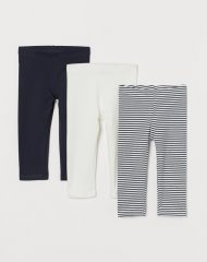 21M2-022 H&M 3-pack cotton leggings - 8-10 tuổi