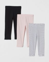 21M2-021 H&M 3-pack cotton leggings - 8-10 tuổi