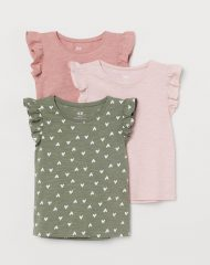 21M2-017 H&M 3-pack flutter-sleeved tops - 8-10 tuổi